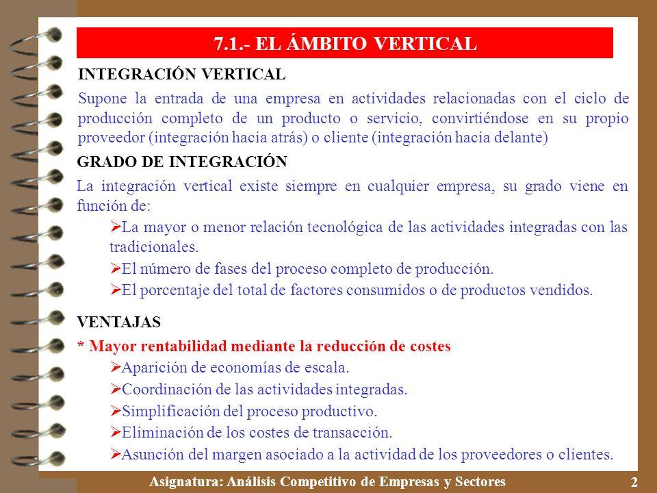 Asignatura: Análisis Competitivo de Empresas y Sectores 2 7.1.- EL ÁMBITO VERTICAL INTEGRACIÓN VERTICAL Supone la entrada de una empresa en actividade