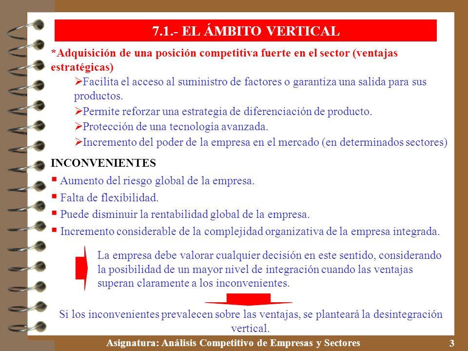 Asignatura: Análisis Competitivo de Empresas y Sectores 3 *Adquisición de una posición competitiva fuerte en el sector (ventajas estratégicas) Facilit