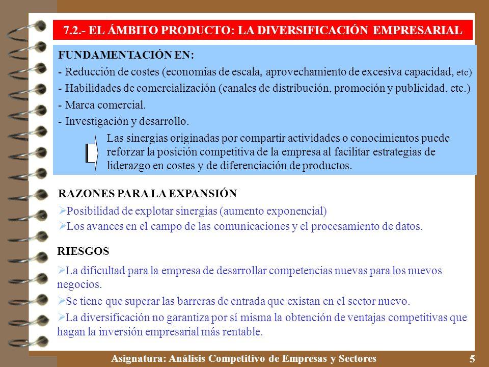 Asignatura: Análisis Competitivo de Empresas y Sectores 6 * Diversificación no relacionada o por conglomerados No existe ninguna relación entre la actividad tradicional de la empresa y los nuevos negocios en los que invierte.