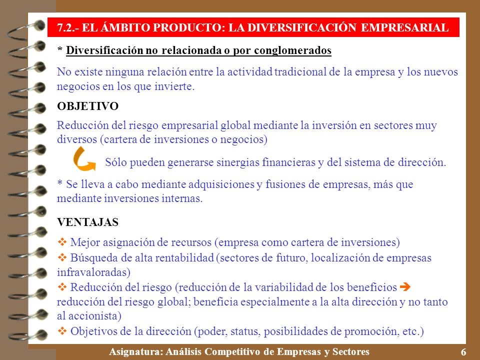 Asignatura: Análisis Competitivo de Empresas y Sectores 7 IDA Y VUELTA Estrategia de diversificación muy de moda en los años 60 y 70, pero en pocos años se empezó a dejar de utilizar.