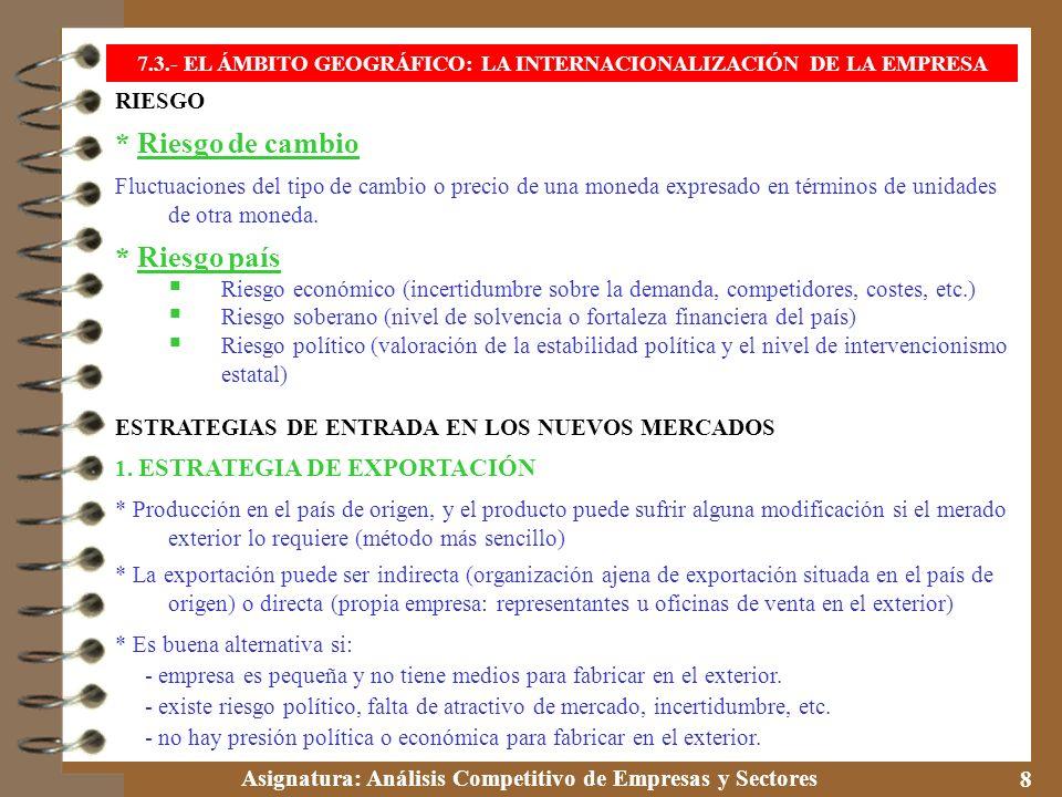 Asignatura: Análisis Competitivo de Empresas y Sectores 9 7.3.- EL ÁMBITO GEOGRÁFICO: LA INTERNACIONALIZACIÓN DE LA EMPRESA 2.