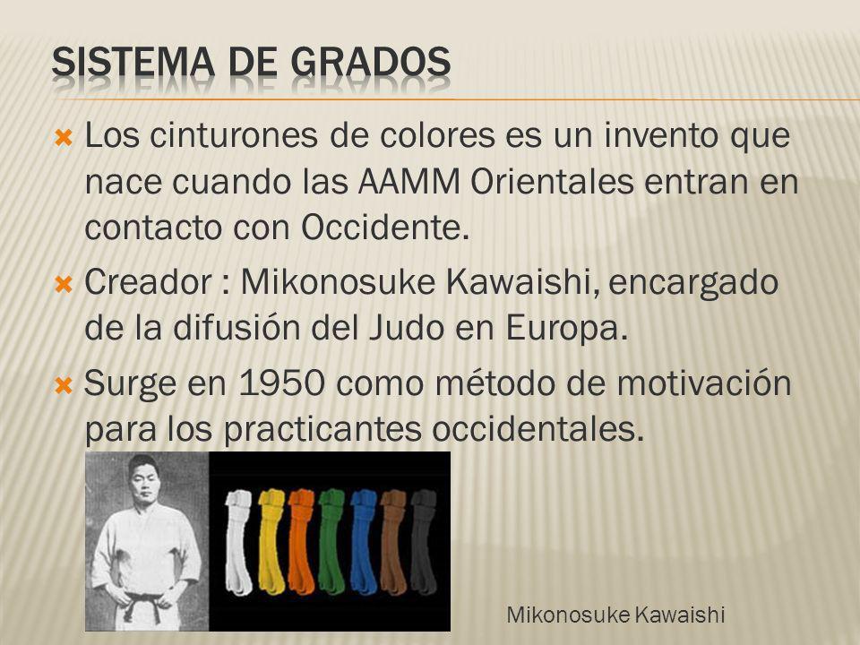Los cinturones de colores es un invento que nace cuando las AAMM Orientales entran en contacto con Occidente. Creador : Mikonosuke Kawaishi, encargado
