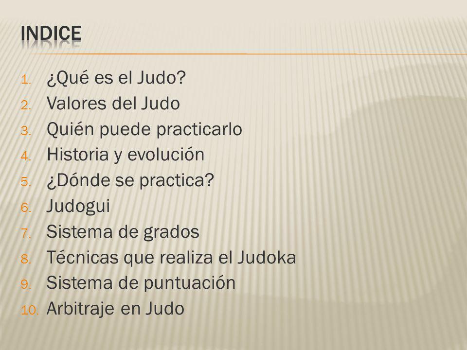 1. ¿Qué es el Judo? 2. Valores del Judo 3. Quién puede practicarlo 4. Historia y evolución 5. ¿Dónde se practica? 6. Judogui 7. Sistema de grados 8. T
