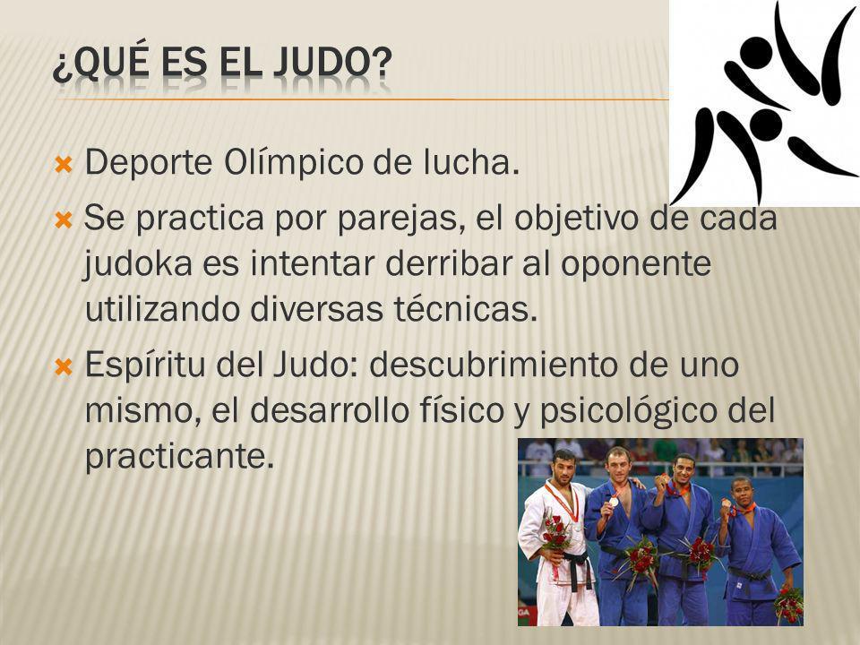Deporte Olímpico de lucha. Se practica por parejas, el objetivo de cada judoka es intentar derribar al oponente utilizando diversas técnicas. Espíritu