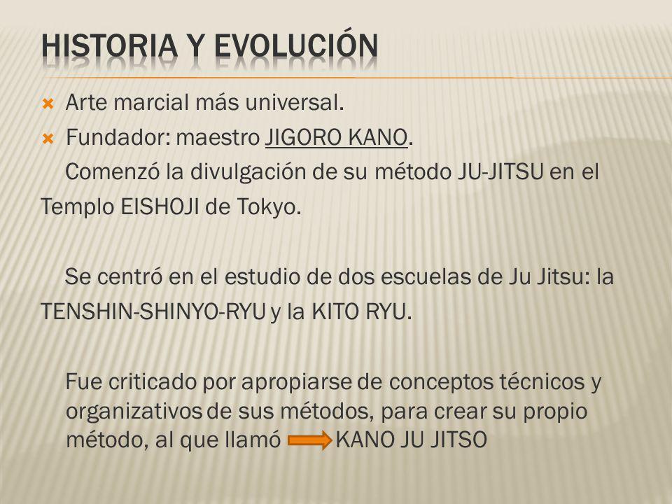 Arte marcial más universal. Fundador: maestro JIGORO KANO. Comenzó la divulgación de su método JU-JITSU en el Templo EISHOJI de Tokyo. Se centró en el