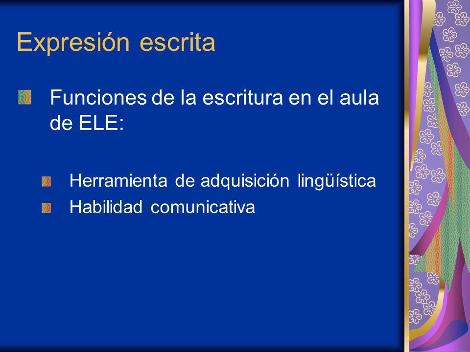 Expresión escrita El docente debe: Facilitar procesos y técnicas de composición escrita Evitar que las lagunas en ELE bloqueen el proceso Organizar actividades en fases Presentar modelos