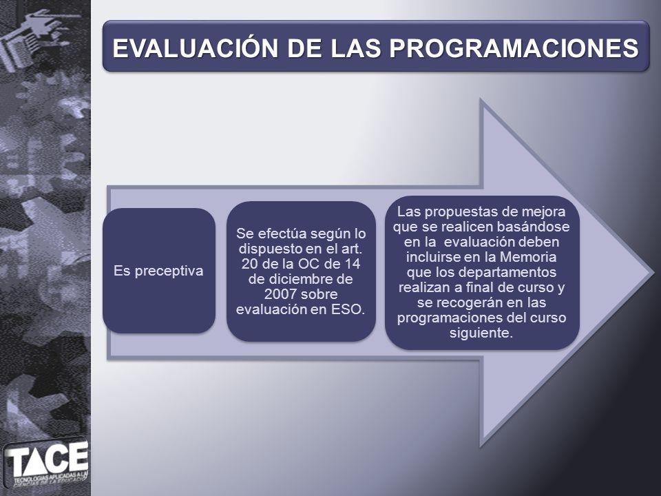 Es preceptiva Se efectúa según lo dispuesto en el art. 20 de la OC de 14 de diciembre de 2007 sobre evaluación en ESO. Las propuestas de mejora que se