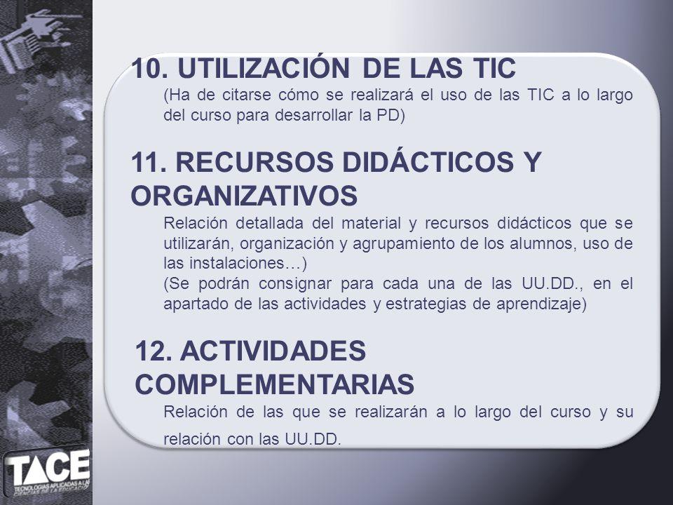 10. UTILIZACIÓN DE LAS TIC (Ha de citarse cómo se realizará el uso de las TIC a lo largo del curso para desarrollar la PD) 11. RECURSOS DIDÁCTICOS Y O
