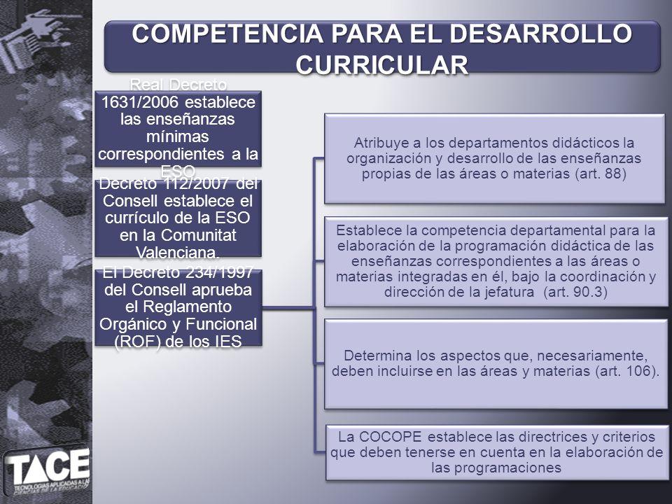 Real Decreto 1631/2006 establece las enseñanzas mínimas correspondientes a la ESO Decreto 112/2007 del Consell establece el currículo de la ESO en la