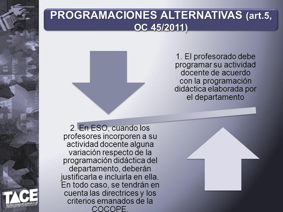 1. El profesorado debe programar su actividad docente de acuerdo con la programación didáctica elaborada por el departamento 2. En ESO, cuando los pro