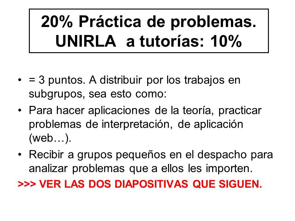 20% Práctica de problemas. UNIRLA a tutorías: 10% = 3 puntos.