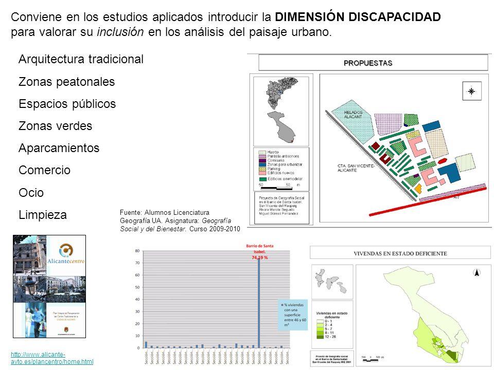 Conviene en los estudios aplicados introducir la DIMENSIÓN DISCAPACIDAD para valorar su inclusión en los análisis del paisaje urbano.