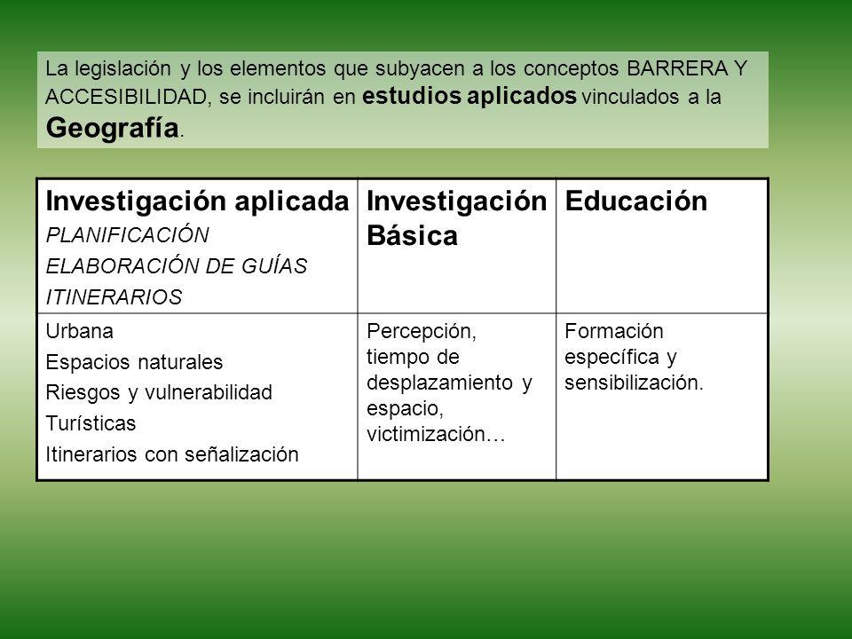 La legislación y los elementos que subyacen a los conceptos BARRERA Y ACCESIBILIDAD, se incluirán en estudios aplicados vinculados a la Geografía.