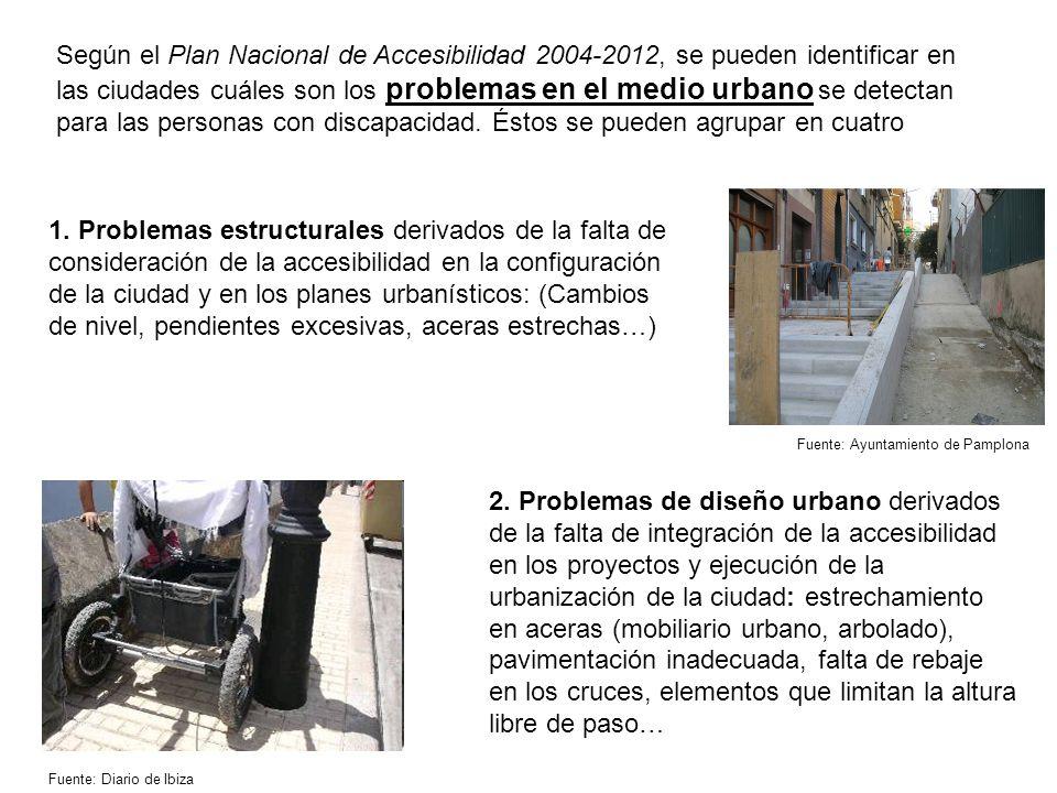Según el Plan Nacional de Accesibilidad 2004-2012, se pueden identificar en las ciudades cuáles son los problemas en el medio urbano se detectan para las personas con discapacidad.