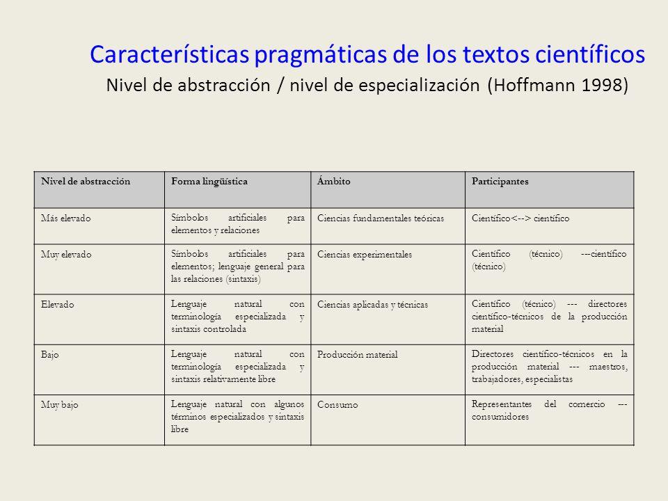 Características pragmáticas de los textos científicos Nivel de abstracción / nivel de especialización (Hoffmann 1998) Nivel de abstracciónForma lingüí