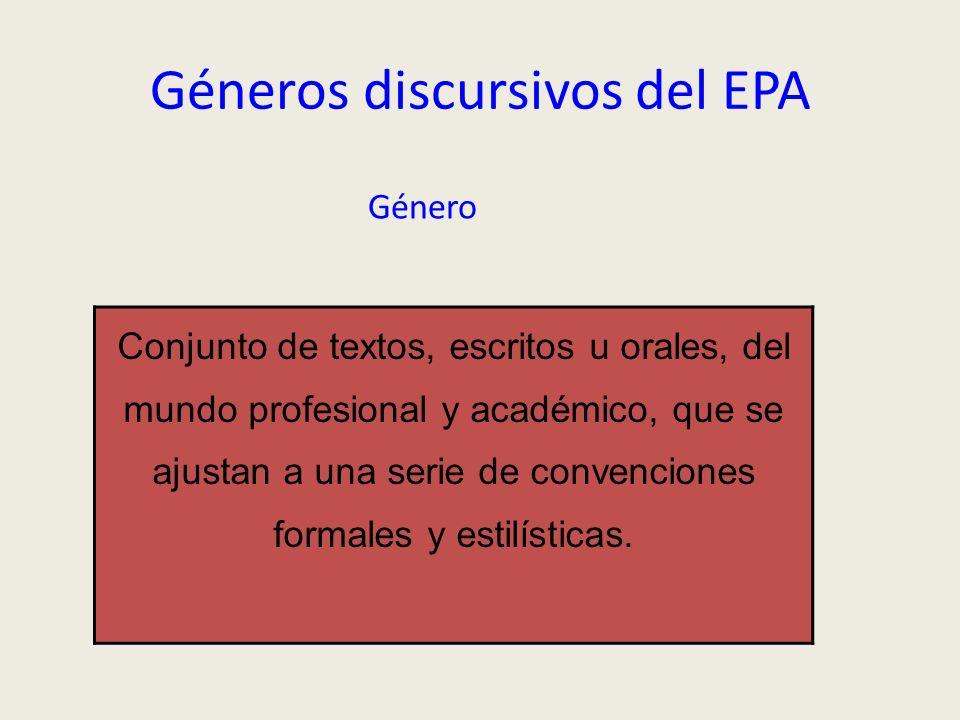 Géneros discursivos del EPA Género Conjunto de textos, escritos u orales, del mundo profesional y académico, que se ajustan a una serie de convencione