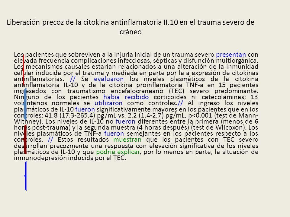 Liberación precoz de la citokina antinflamatoria II.10 en el trauma severo de cráneo Los pacientes que sobreviven a la injuria inicial de un trauma se