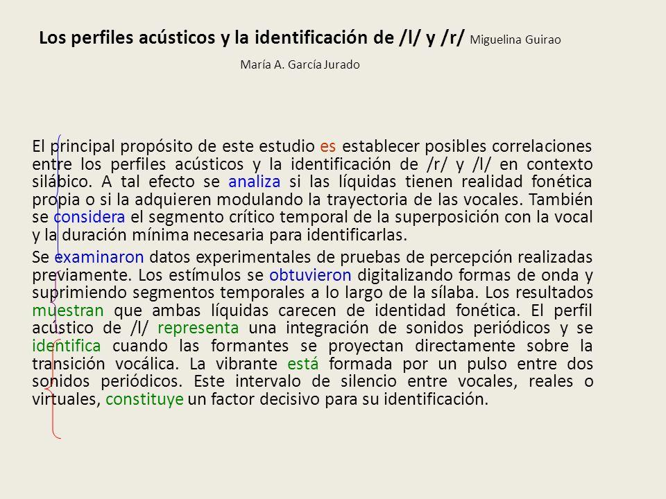Los perfiles acústicos y la identificación de /l/ y /r/ Miguelina Guirao María A. García Jurado El principal propósito de este estudio es establecer p