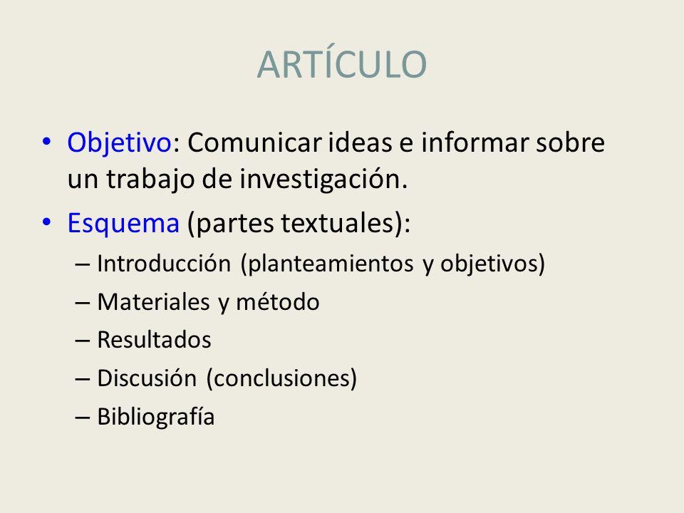 ARTÍCULO Objetivo: Comunicar ideas e informar sobre un trabajo de investigación. Esquema (partes textuales): – Introducción (planteamientos y objetivo