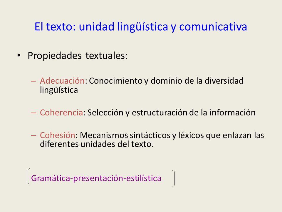 El texto: unidad lingüística y comunicativa Propiedades textuales: – Adecuación: Conocimiento y dominio de la diversidad lingüística – Coherencia: Sel