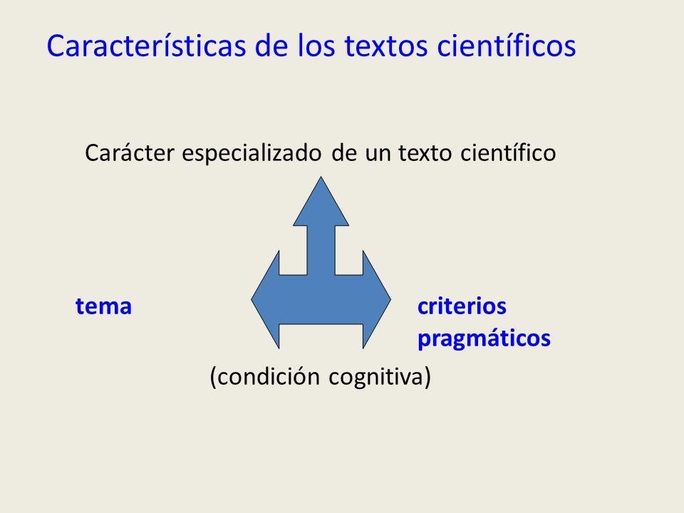 Características de los textos científicos Carácter especializado de un texto científico tema criterios pragmáticos (condición cognitiva)