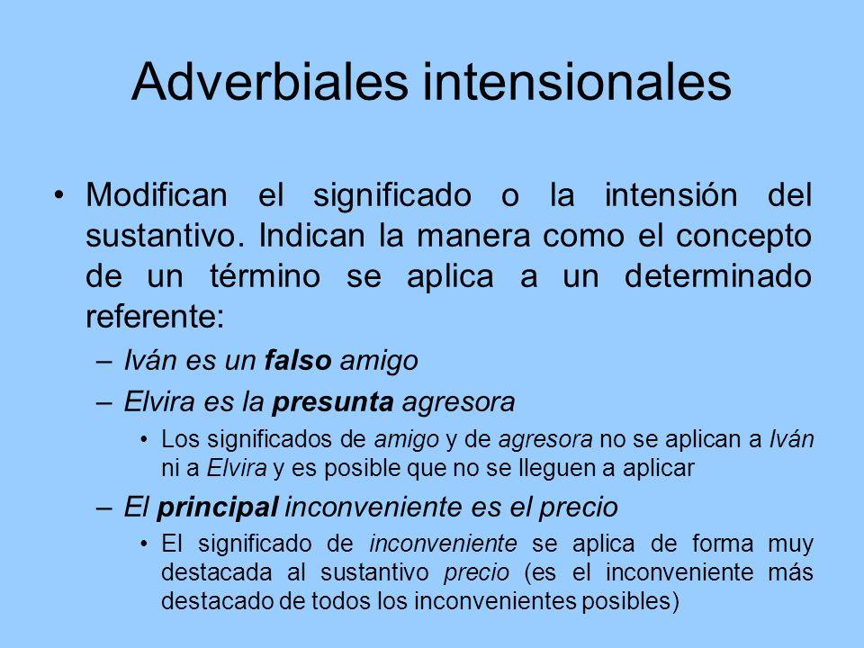 Adverbiales intensionales Modifican el significado o la intensión del sustantivo. Indican la manera como el concepto de un término se aplica a un dete