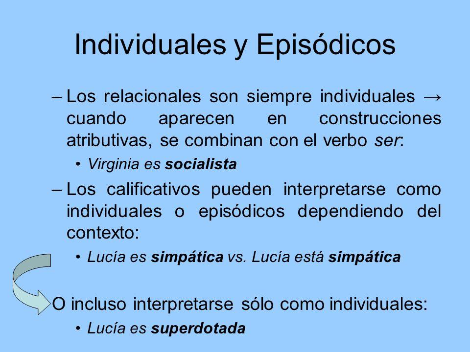 Individuales y Episódicos –Los relacionales son siempre individuales cuando aparecen en construcciones atributivas, se combinan con el verbo ser: Virg