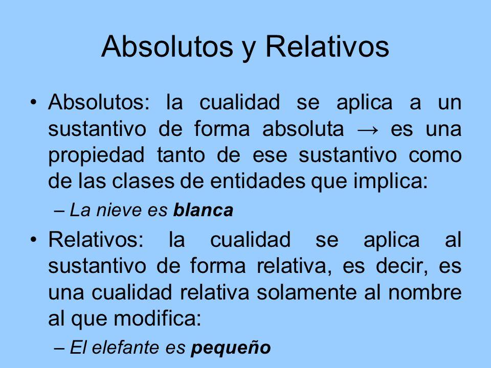 Absolutos y Relativos Absolutos: la cualidad se aplica a un sustantivo de forma absoluta es una propiedad tanto de ese sustantivo como de las clases d