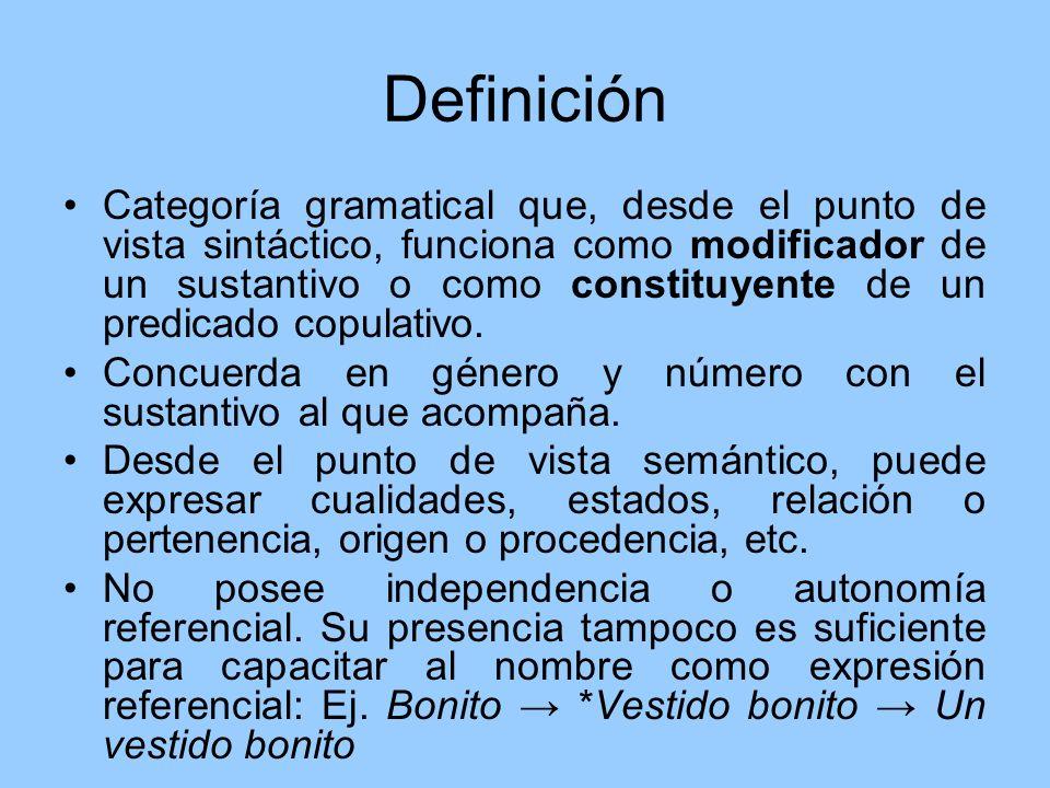 Definición Categoría gramatical que, desde el punto de vista sintáctico, funciona como modificador de un sustantivo o como constituyente de un predica