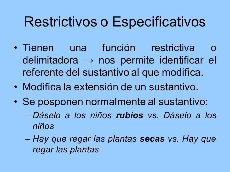 Restrictivos o Especificativos Tienen una función restrictiva o delimitadora nos permite identificar el referente del sustantivo al que modifica. Modi