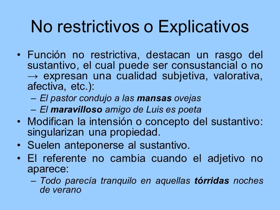 No restrictivos o Explicativos Función no restrictiva, destacan un rasgo del sustantivo, el cual puede ser consustancial o no expresan una cualidad su