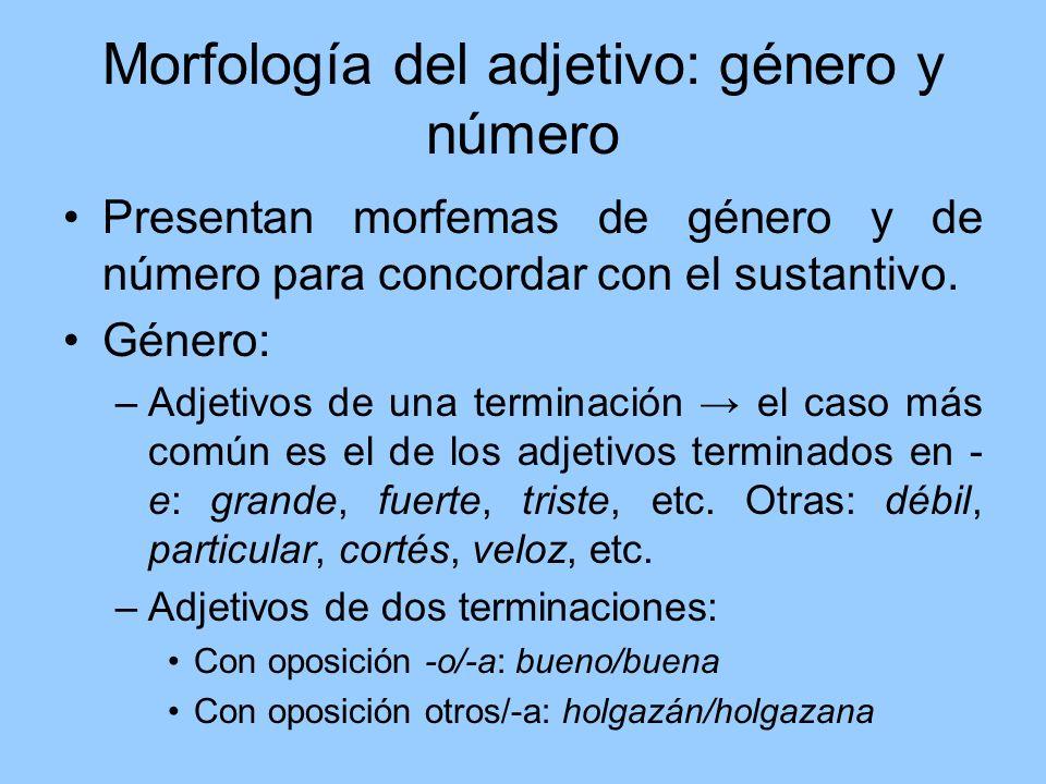 Morfología del adjetivo: género y número Presentan morfemas de género y de número para concordar con el sustantivo. Género: –Adjetivos de una terminac