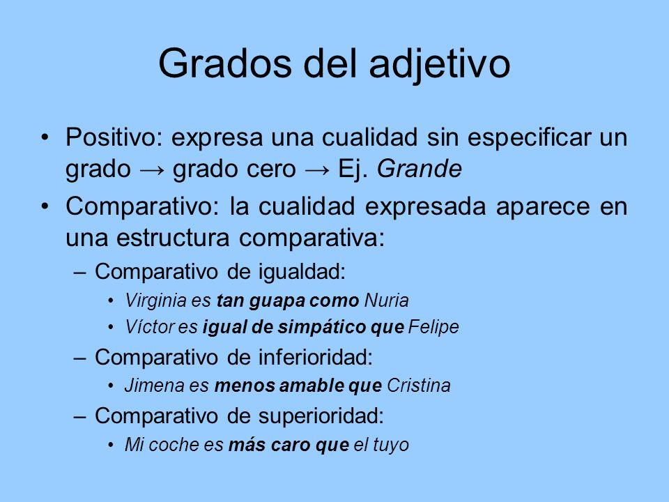Grados del adjetivo Positivo: expresa una cualidad sin especificar un grado grado cero Ej. Grande Comparativo: la cualidad expresada aparece en una es