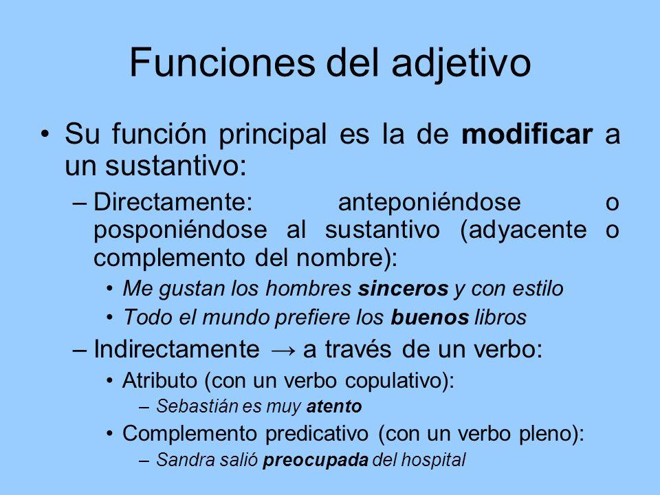 Funciones del adjetivo Su función principal es la de modificar a un sustantivo: –Directamente: anteponiéndose o posponiéndose al sustantivo (adyacente