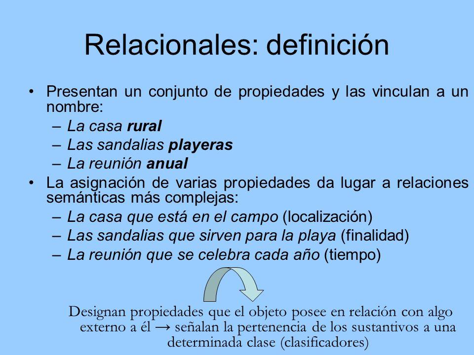 Relacionales: definición Presentan un conjunto de propiedades y las vinculan a un nombre: –La casa rural –Las sandalias playeras –La reunión anual La
