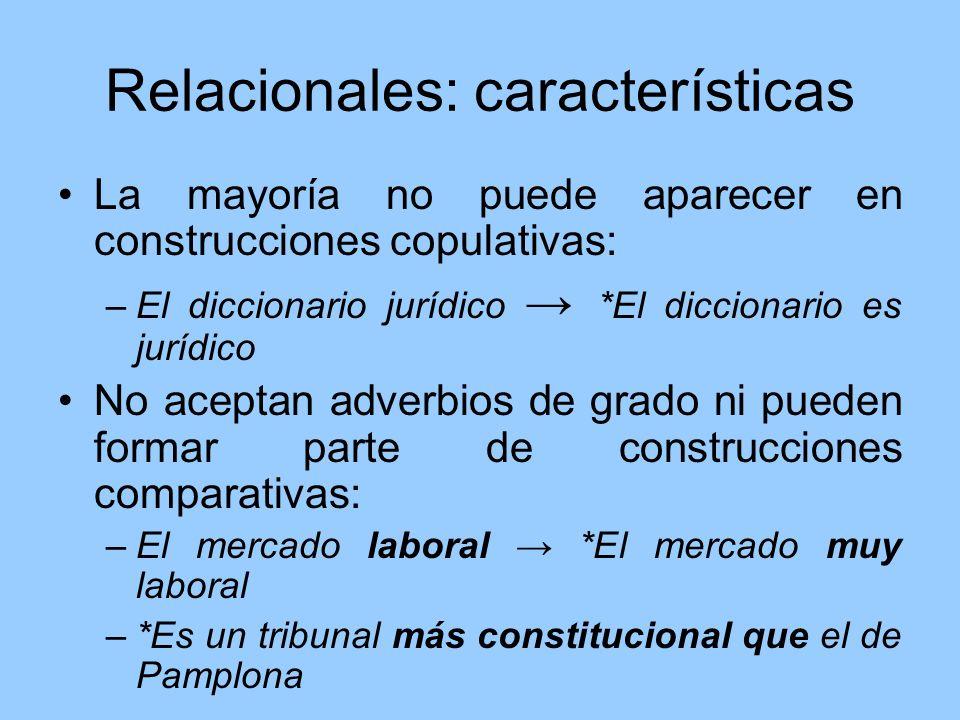 Relacionales: características La mayoría no puede aparecer en construcciones copulativas: –El diccionario jurídico *El diccionario es jurídico No acep
