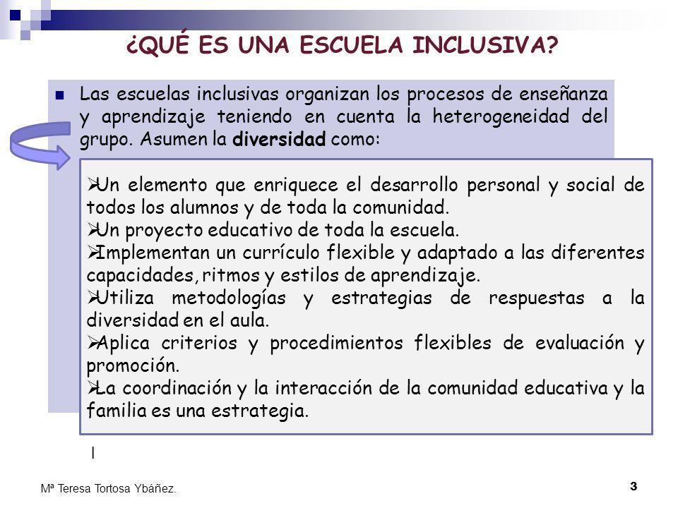 3 Mª Teresa Tortosa Ybáñez. ¿QUÉ ES UNA ESCUELA INCLUSIVA? Las escuelas inclusivas organizan los procesos de enseñanza y aprendizaje teniendo en cuent