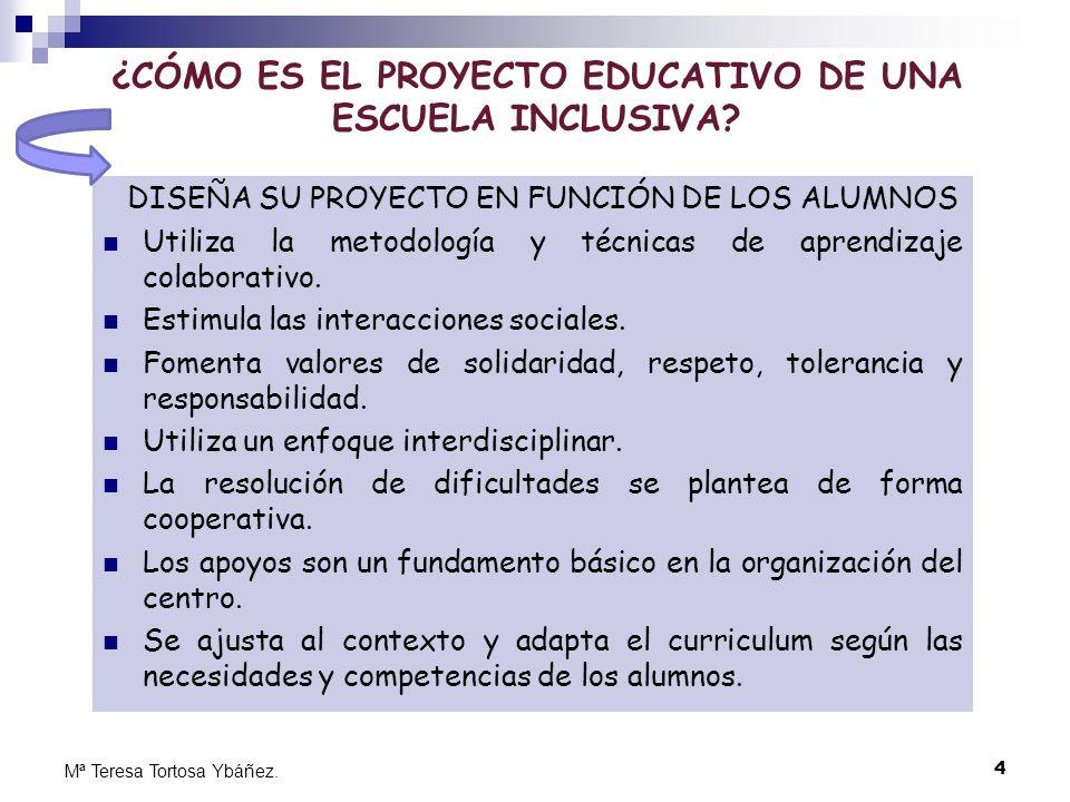 4 Mª Teresa Tortosa Ybáñez. ¿CÓMO ES EL PROYECTO EDUCATIVO DE UNA ESCUELA INCLUSIVA? DISEÑA SU PROYECTO EN FUNCIÓN DE LOS ALUMNOS Utiliza la metodolog