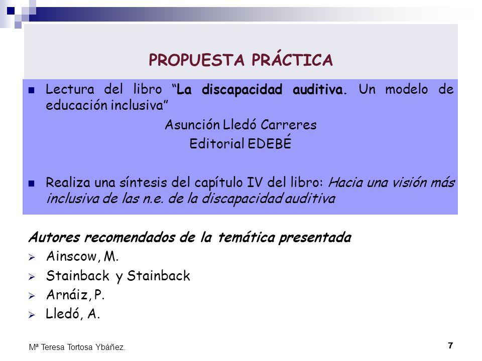 PROPUESTA PRÁCTICA Lectura del libro La discapacidad auditiva. Un modelo de educación inclusiva Asunción Lledó Carreres Editorial EDEBÉ Realiza una sí
