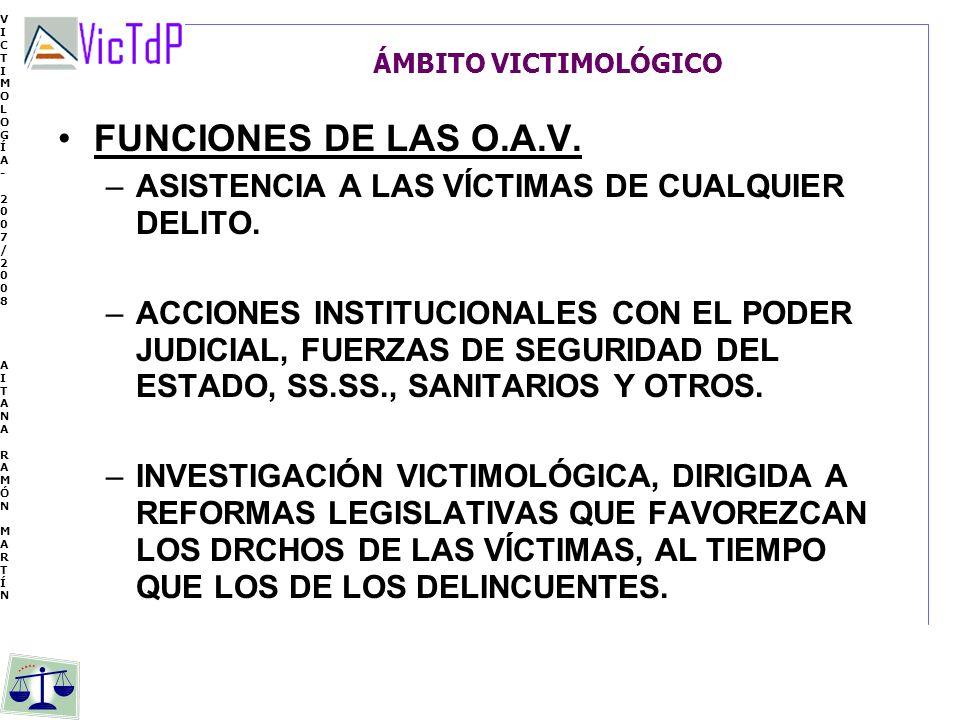 VICTIMOLOGÍA- 2007/2008 AITANA RAMÓN MARTÍN VICTIMOLOGÍA- 2007/2008 AITANA RAMÓN MARTÍN ÁMBITO VICTIMOLÓGICO FUNCIONES DE LAS O.A.V. –ASISTENCIA A LAS