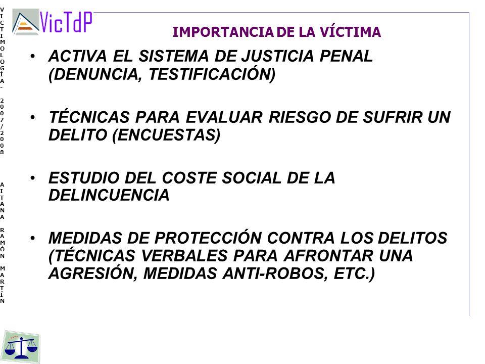 VICTIMOLOGÍA- 2007/2008 AITANA RAMÓN MARTÍN VICTIMOLOGÍA- 2007/2008 AITANA RAMÓN MARTÍN IMPORTANCIA DE LA VÍCTIMA ACTIVA EL SISTEMA DE JUSTICIA PENAL