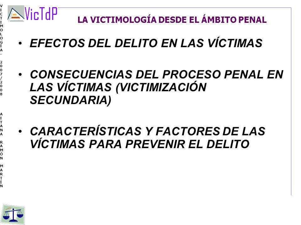 VICTIMOLOGÍA- 2007/2008 AITANA RAMÓN MARTÍN VICTIMOLOGÍA- 2007/2008 AITANA RAMÓN MARTÍN LA VICTIMOLOGÍA DESDE EL ÁMBITO PENAL EFECTOS DEL DELITO EN LA