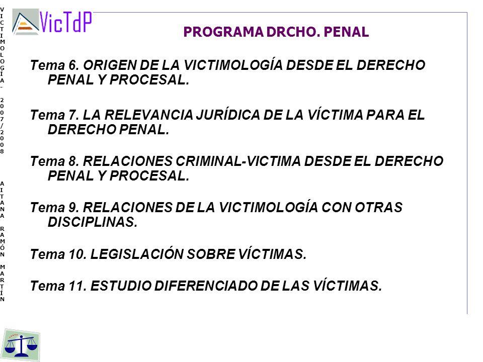 VICTIMOLOGÍA- 2007/2008 AITANA RAMÓN MARTÍN VICTIMOLOGÍA- 2007/2008 AITANA RAMÓN MARTÍN PROGRAMA DRCHO. PENAL Tema 6. ORIGEN DE LA VICTIMOLOGÍA DESDE