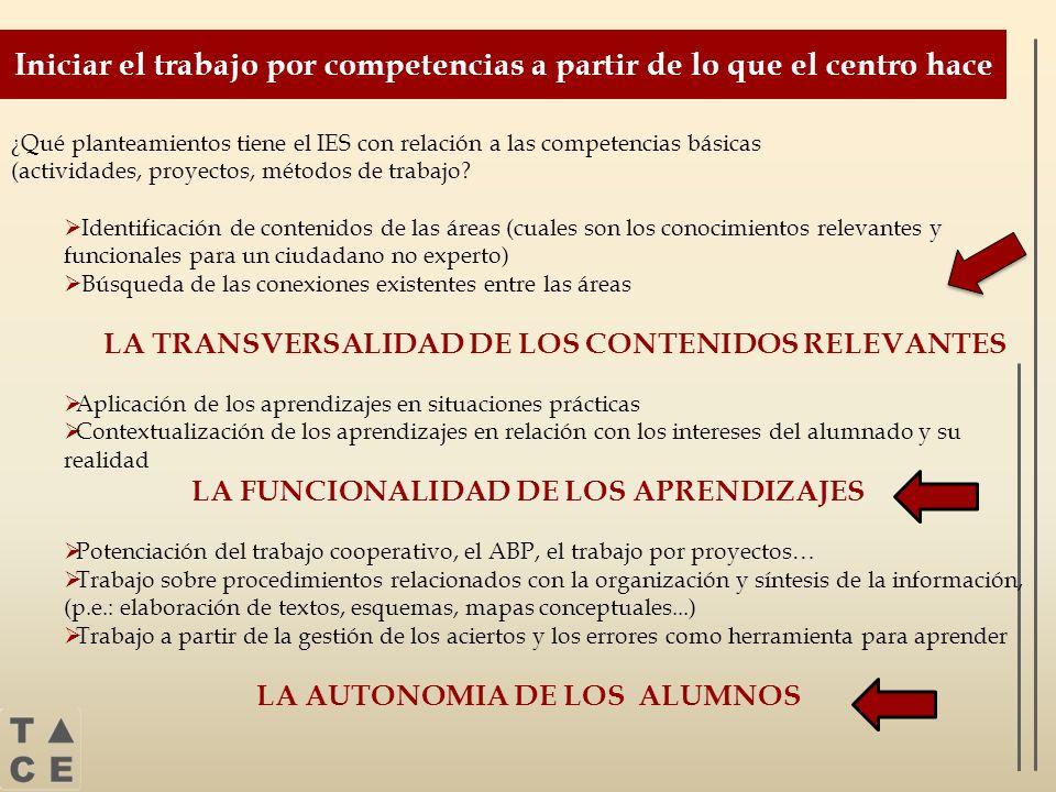 ¿Qué planteamientos tiene el IES con relación a las competencias básicas (actividades, proyectos, métodos de trabajo? Identificación de contenidos de