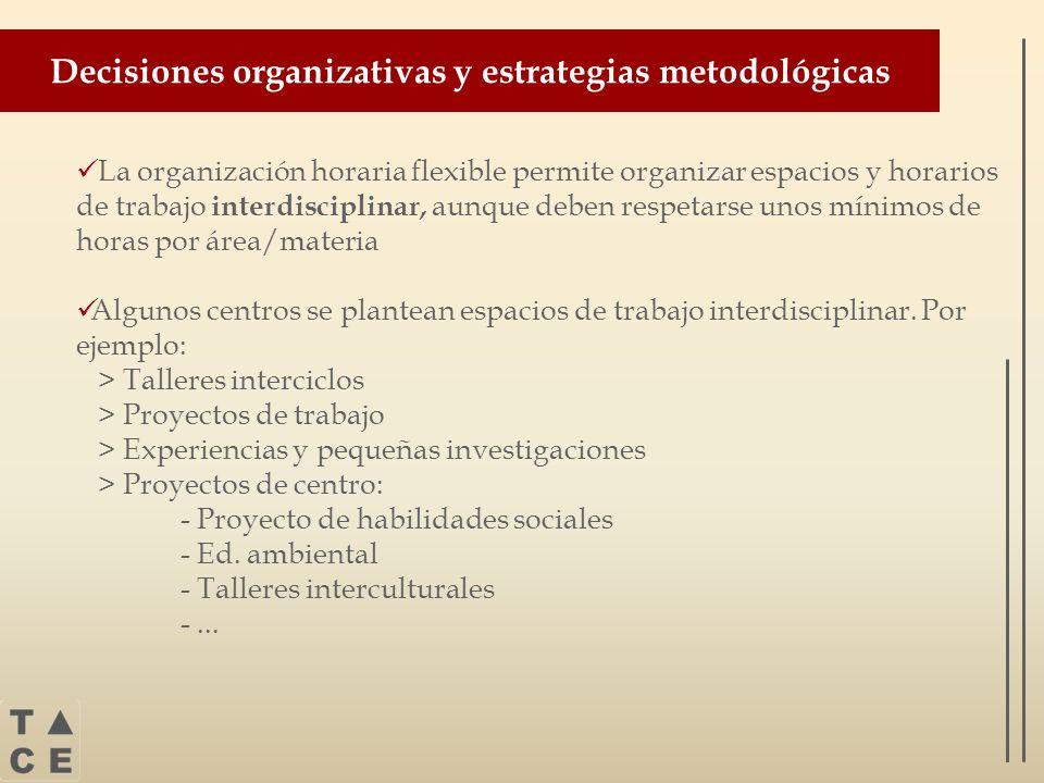 Decisiones organizativas y estrategias metodológicas La organización horaria flexible permite organizar espacios y horarios de trabajo interdisciplina