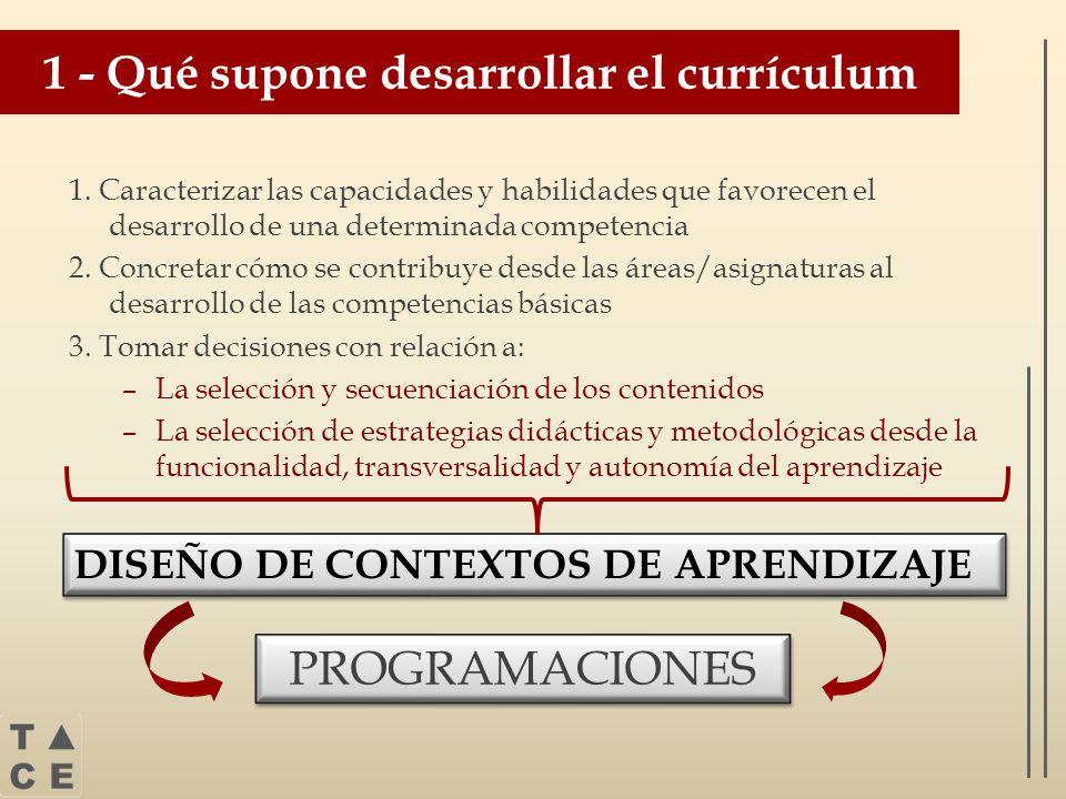 1 - Qué supone desarrollar el currículum 1. Caracterizar las capacidades y habilidades que favorecen el desarrollo de una determinada competencia 2. C