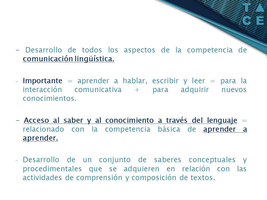 - Desarrollo de todos los aspectos de la competencia de comunicación lingüística. - Importante = aprender a hablar, escribir y leer = para la interacc