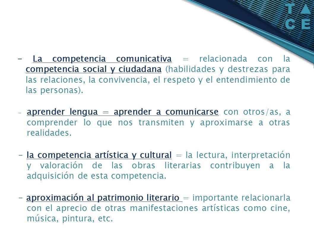 - La competencia comunicativa = relacionada con la competencia social y ciudadana (habilidades y destrezas para las relaciones, la convivencia, el res