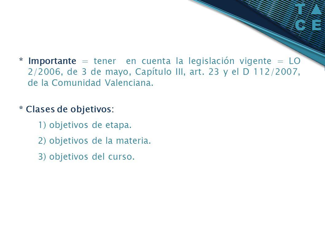 * Importante = tener en cuenta la legislación vigente = LO 2/2006, de 3 de mayo, Capítulo III, art. 23 y el D 112/2007, de la Comunidad Valenciana. *