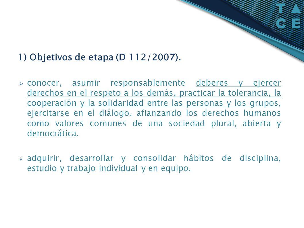 1) Objetivos de etapa (D 112/2007). conocer, asumir responsablemente deberes y ejercer derechos en el respeto a los demás, practicar la tolerancia, la